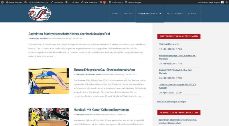 Website des TSV Korbach e. V.
