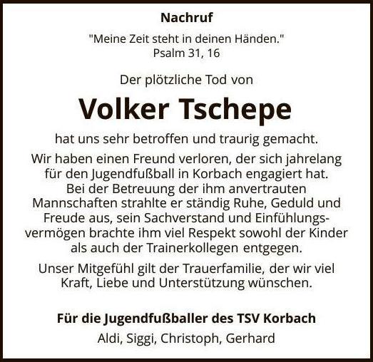 Nachruf Volker Tschepe
