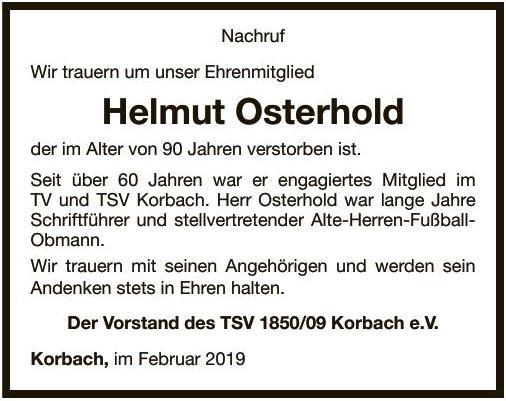 Traueranzeige Helmut Osterhold